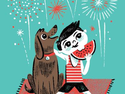 Happy 4th! fourth of july holiday fireworks 4th usa america dog boy kid watermelon picnic