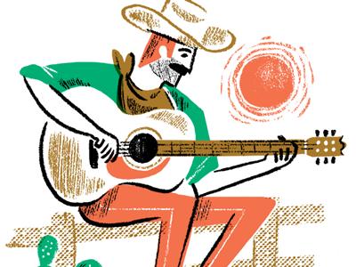 Guitar Playin' Cowboy cowboy cactus wild west sun fence guitar illustration character draw