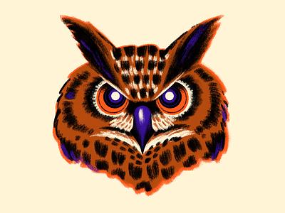 Halloween Owl animal procreate retro vintage owl halloween illustration