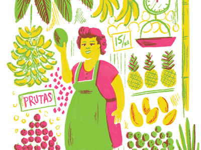 Dribbble fruit stand lady