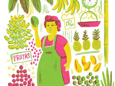 Fruit Stand Lady fruit illustration lady filipina philippines market banana pineapple mango retro vintage