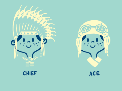 Hey there... mid-century cartoon illustration character retro mid-century modern boy kid chief ace ranger scout