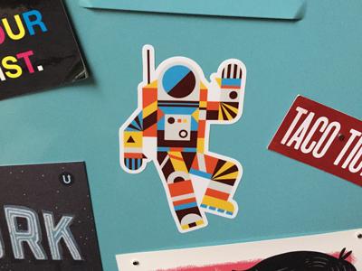 Hello Spaceman Sticker spaceman astronaut vinyl sticker space shapes