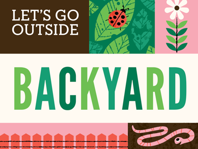 Backyard Board Book book kids children backyard outside bugs worm leaf flower ladybug