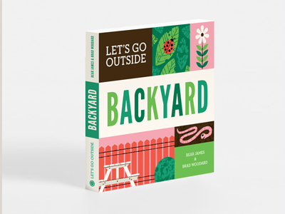 Let's Go Outside Mockup backyard outside illustration book childrens book picture book fence worm flower bugs book cover