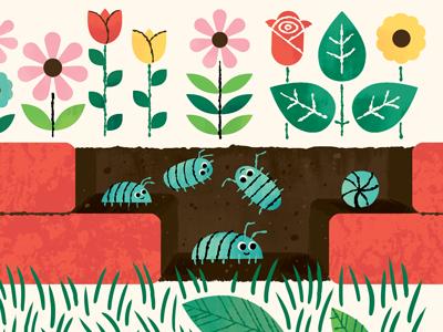 Potato Bugs potato bugs pill bugs roly-polies sow bugs woodlice bug garden illustration flowers backyard