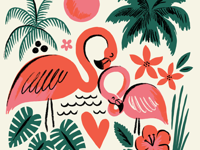 Flamingos flamingo bird palm tree sun leaves florida flower tropical illustration