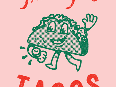 Time for Tacos type lettering retro tee t-shirt character food tacos