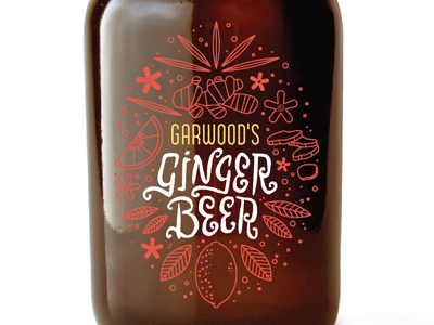 Garwood's Ginger Beer Label packaging bottle ginger beer label illustration handlettering typography type lettering