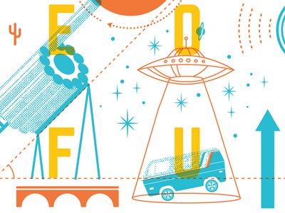 The Science of Fun Poster #2 poster icons illustration van space ufo festival music science
