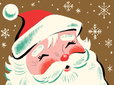 Old Saint Nick character illustration christmas santa clause vintage snow snowflakes santa