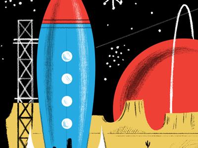 Space Ranger Rocket stars space planets mid-century 50s illustration spaceship rocketship rocket photoshop brushes
