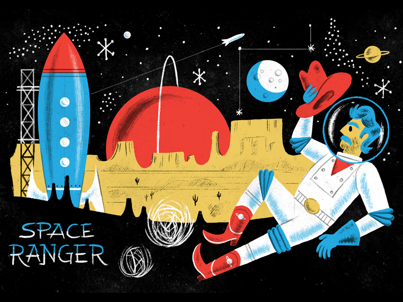 SpaceRanger PSD Brush Kit & Tutorial Pack spaceship rocket cowboy astronaut 50s mid-century lettering stars planet moon space photoshop