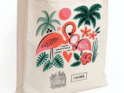 West Elm x i'mME Tote mothers day tote illustration plants heart flowers palm trees trees flamingo florida