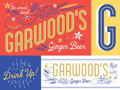 Garwood's Ginger Beer Brand Specimen drink label flowers lemon ginger ginger beer specimen type logo brand