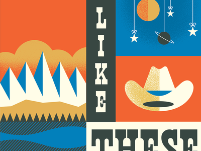 Skies Like These  cover artwork cover design book book cover stars sky planets cowboy hat illustration mountain