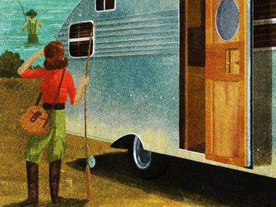 Camper Trailer outdoors camping fishing people illustration 40s 30s vintage retro trailer camper