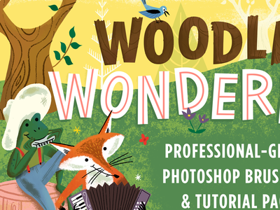 Woodland Wonderland Countdown forest lettering books fox frog brushes characters illustration woods