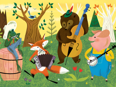 Woodland Wonderland Brush Pack is Here! characters forest trees illustration folk instruments frog fox bear pig animals