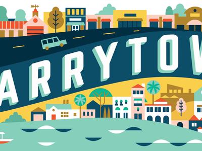 Neighborhood Mural trees cars river shops buildings illustration town city austin texas neighborhood mural