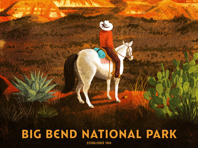 Big Bend National Park texas cactus horse cowboy screen print poster national park mountains big bend