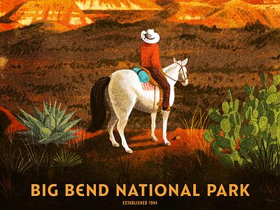 Big Bend National Park texas cactus horse cowboy screen print poster national park mountains big bend