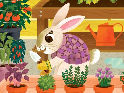 Gardening Bunny urban garden herbs vegetables plants pots garden character rabbit bunny