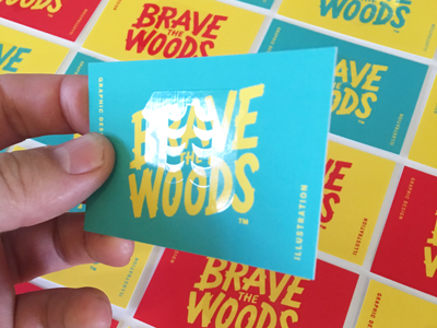 New Brave the Woods Business Cards design illustration printing spot gloss lettering logo branding business cards