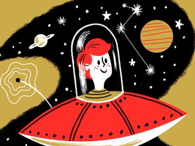 UFO Dribbble galaxy starts planets redhead boy character retro ufo spaceship space
