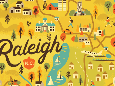 Raleigh Map Progress houses sail boat lakes trees icons illustrated map north carolina raleigh map
