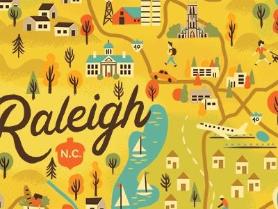 Raleigh Map Progress houses sail boat lakes trees icons illustrated map north carolina raleigh map