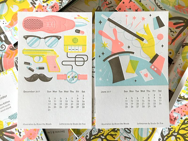 2017 Studio On Fire Desk Calendar gun spies spy gear magician bunny cards magic 2017 letterpress calendar