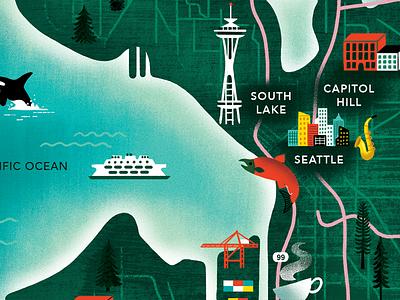 Seattle Map WIP salmon spaceneedle ferry washington trees ocean texture illustration map seattle