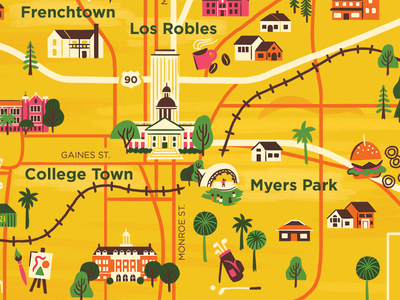 Tallahassee  buildings trees icons city illustration map florida