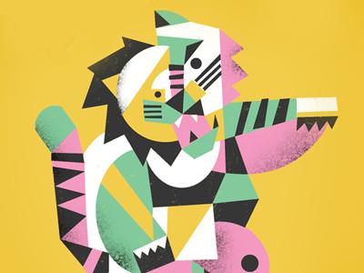 Oh My illustration design lion tiger bear cubist shapes color ferocious