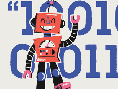 Happy Robot greeting card illustration character robot