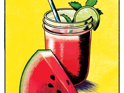 Watermelon Agua Fresca glass lime texture illustration food watermelon drink