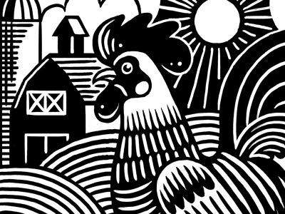 Farm Lines linocut woodblock illustration silo fields rooster sun barn farm