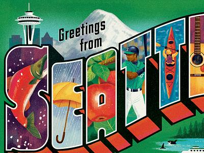 Greetings from Seattle washington vintage illustration type lettering postcard seattle