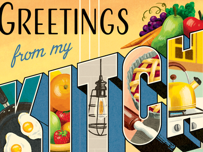 Greetings from my Kitchen vintage food illustration postcard retro kitchen