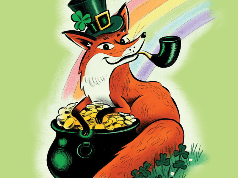 St. Patrick's Day Fox phone wallpaper clovers rainbow pot of gold pipe procreate ipad pro st.patricks day irish illustration character fox