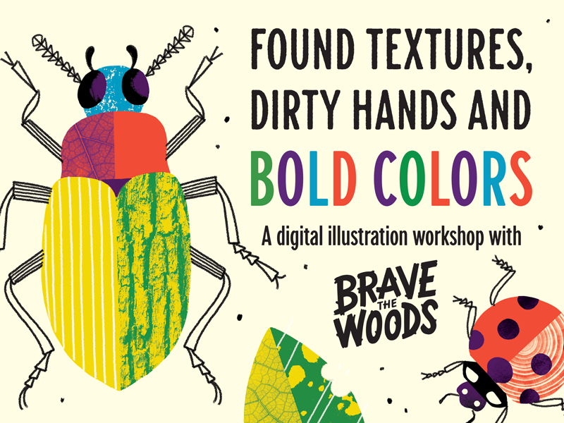 Summer Workshop Tour illustration class textures ladybug beetle insects bugs workshop