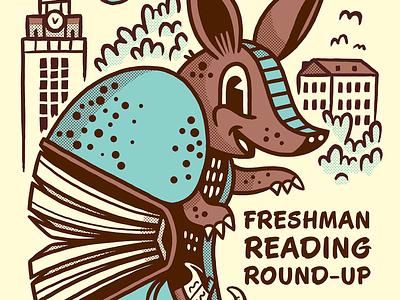 Reading Roundup character poster halftone illustration texas austin book armadillo