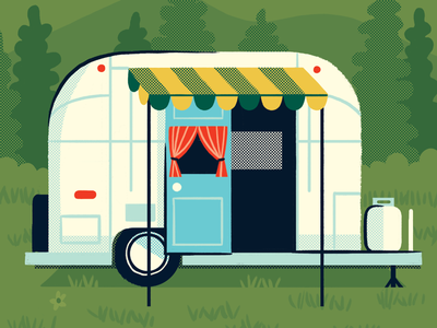 Airstream Camper Trailer outdoors nature camping illustration camper trailer camper trailer airstream