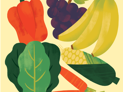 Produce texture illustration food carrot grapes pepper bananas corn vegetables fruit