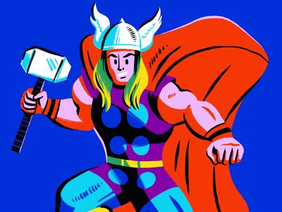 Thor retro illustration marvel hero superhero thor character