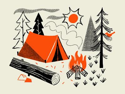Texture Camp illustration vintage retro halftones ipadpro procreate nature outdoors camping textures