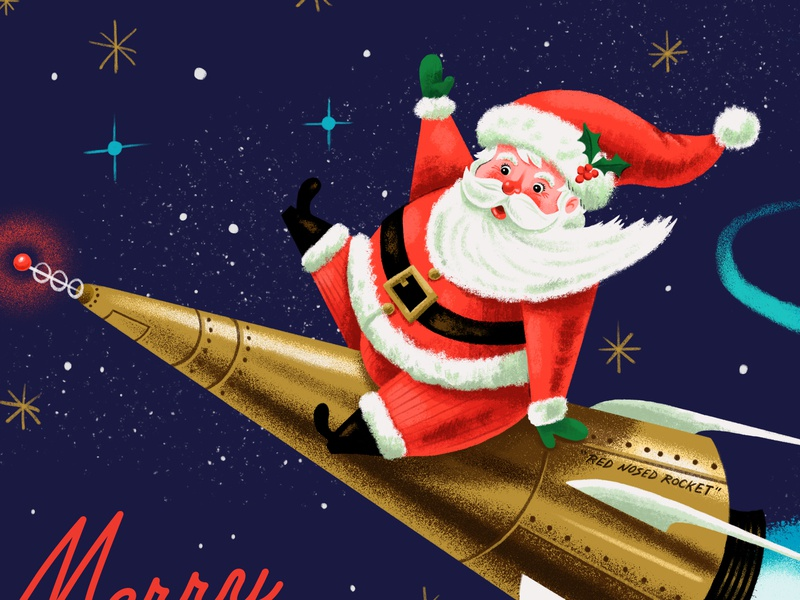 Red Nosed Rocket character christmas merrychristmas santaclause santa vintage space