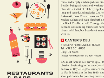 Food Icons illustration bars restaurants food icons mid-century vintage retro layout map