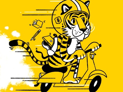 Headed to Creative Works Conference cartoon conference animal scooter character tiger illustration procreate ipad pro creative works